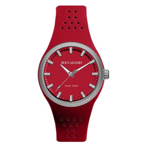 Clock in hypoallergenic silicone with dial and red strap