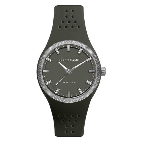 Clock in hypoallergenic silicone with a quadrant and gray strap
