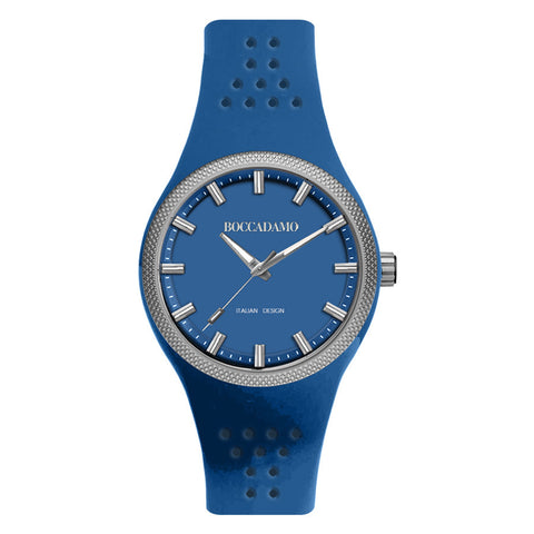 Clock in hypoallergenic silicone with a quadrant and strap blue denim