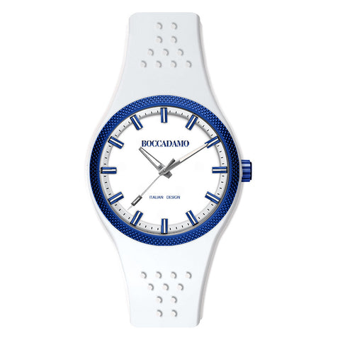 Clock silicono in white with blue ring