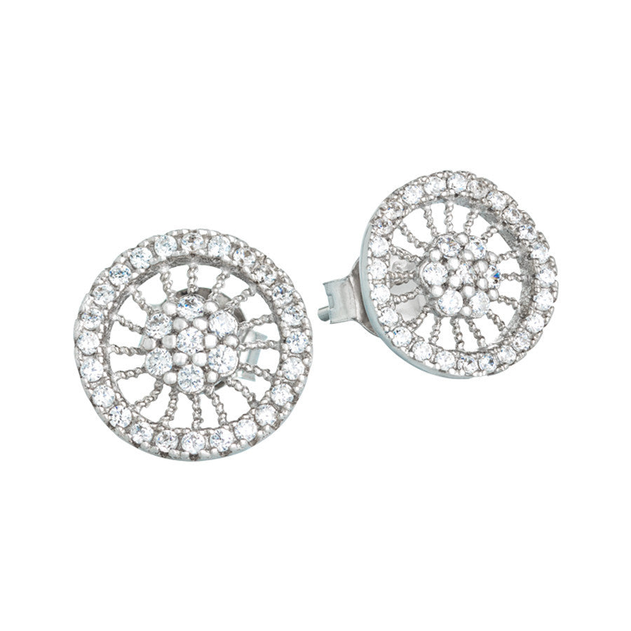 Silver earrings with radial decoration of zircons