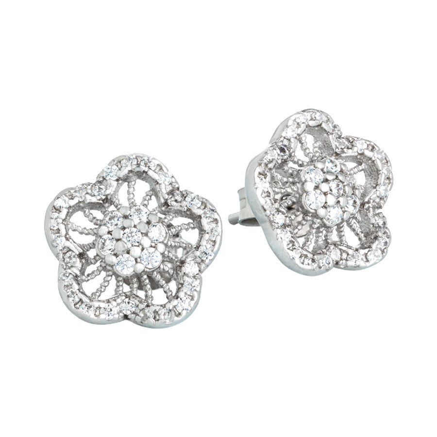 Silver earrings with decoration to flower of zircons