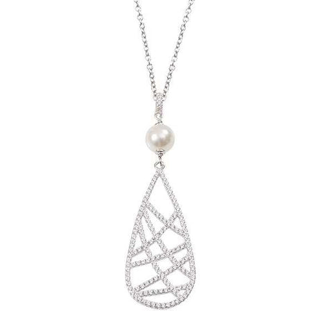 Necklace in silver with Swarovski pearl and pendant zircons