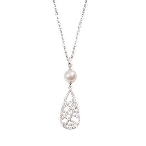Necklace in silver with pearl Swarovski pendant and geometrical zircons