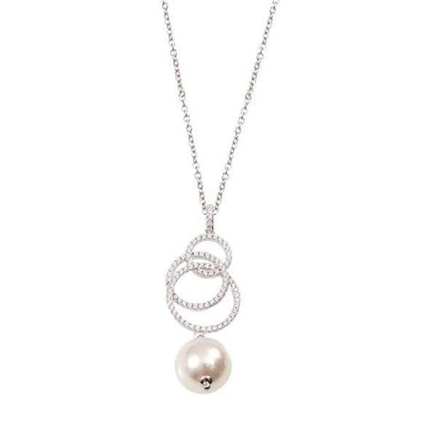 Necklace in silver with a pendant of zircons and final pearl