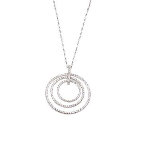 Necklace in silver with concentric hangs in pavè of zircons