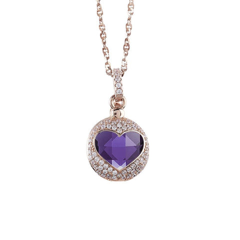 Related product : Necklace color pink gold with the heart of retractable zircons and crystal Tanzanite
