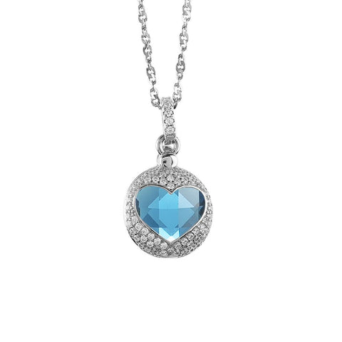Related product : Necklace with heart of retractable zircons and crystal blue
