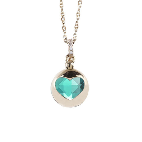 Related product : Necklace color gold with retractable heart and crystal clear green