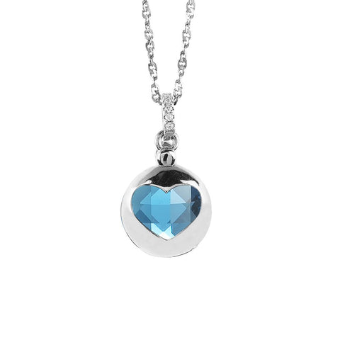 Related product : Necklace with retractable heart and crystal blue