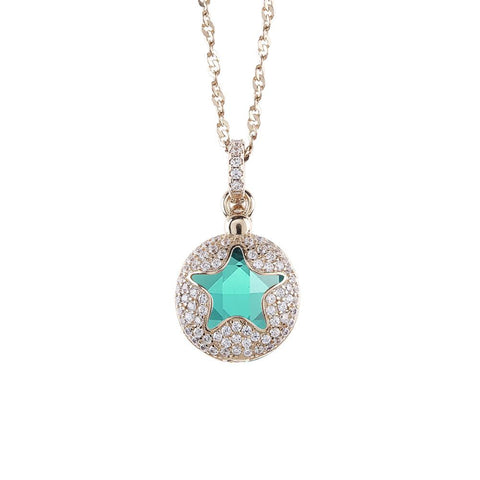 Related product : Necklace color gold with star retractable zircons and crystal clear green
