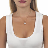 Necklace color pink gold with star retractable zircons and crystal Tanzanite