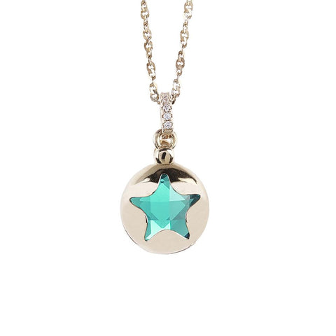 Related product : Necklace color gold with retractable star and crystal clear green