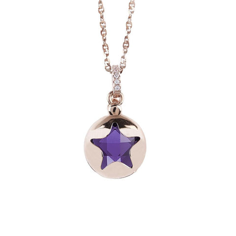 Related product : Necklace color pink gold with retractable star and crystal Tanzanite