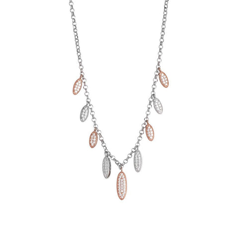 Related product : Necklace bicolor with pavè of zircons