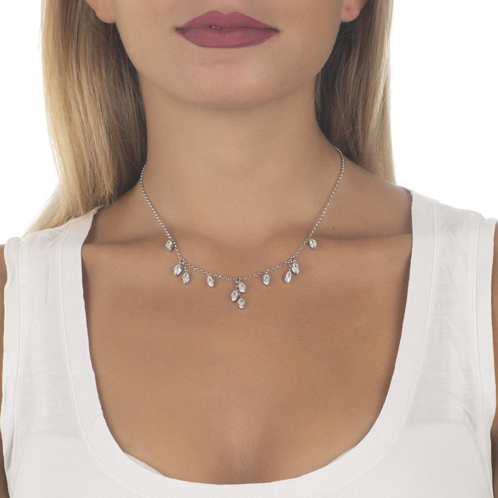 Necklace with zircons to shuttles brilliant cut