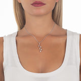 Necklace bicolor with pendent zircons to shuttles brilliant cut