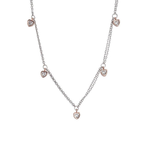 Related product : Necklace double thread bicolor with zircons to heart