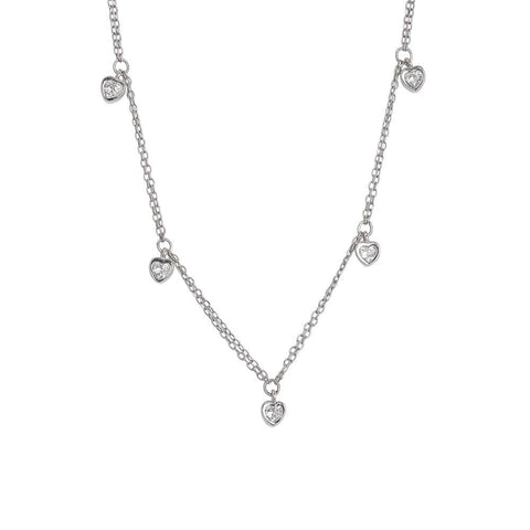Related product : Necklace double wire with zircons to heart