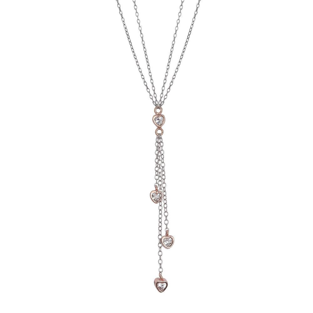 Necklace double thread bicolor pendant with a sprig of zircons in the heart