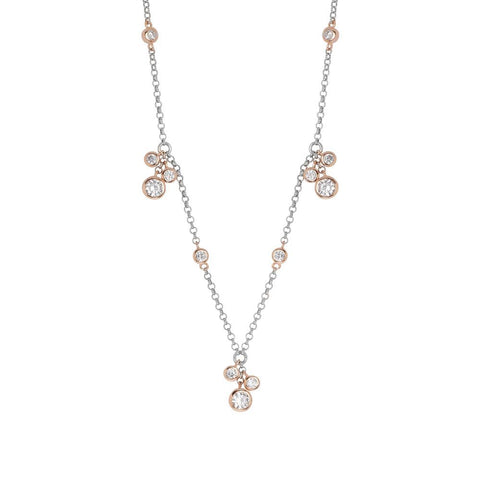Related product : Necklace in silver bicolor with sprigs pendant zircons