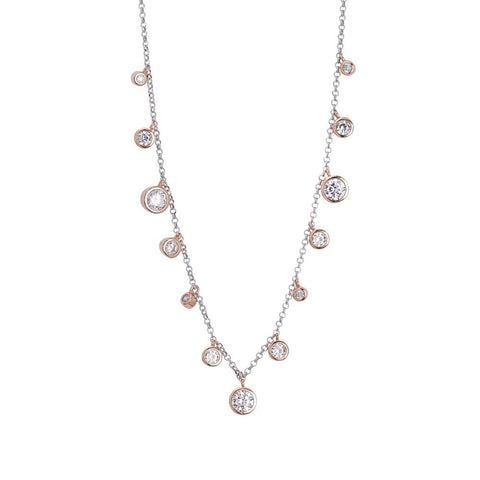 Related product : Necklace with pendant degradè gold plated rose zircons diamond cut