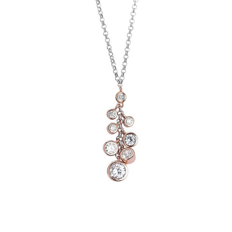 Related product : Necklace Pendant with gold plated pink bunch of zircons