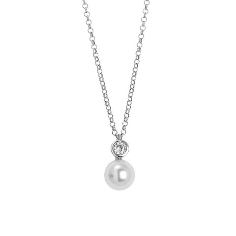 Related product : Necklace with a pendant of zircon diamond cut and Swarovski pearl
