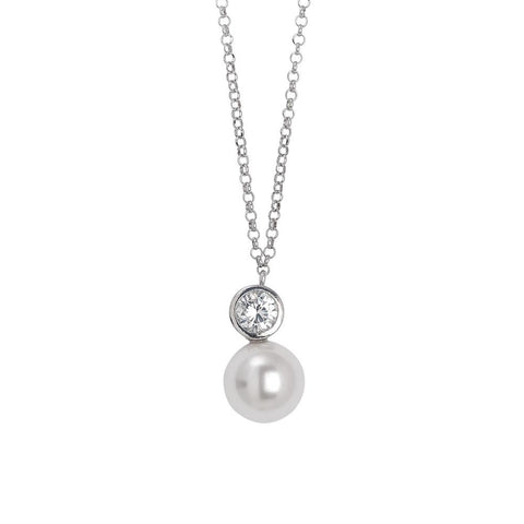 Related product : Necklace in silver with a pendant of zircon diamond cut and Swarovski pearl