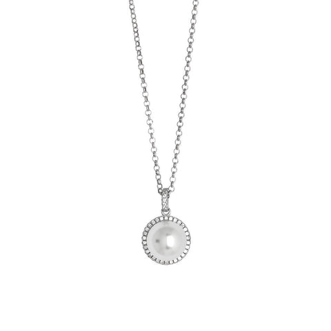 Necklace with pearl Swarovski pavà on¨ of zircons