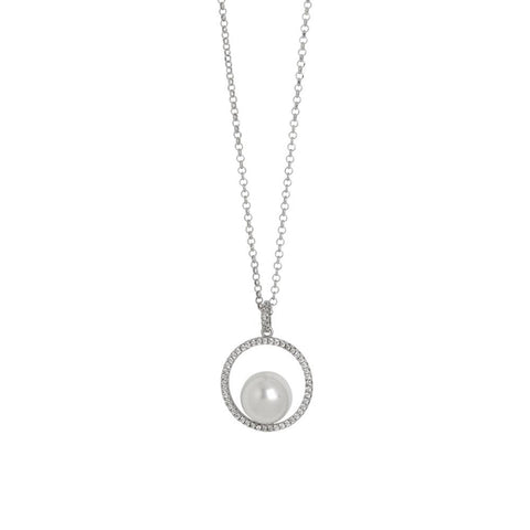 Related product : Necklace with circular pendant with zircons and Swarovski pearl