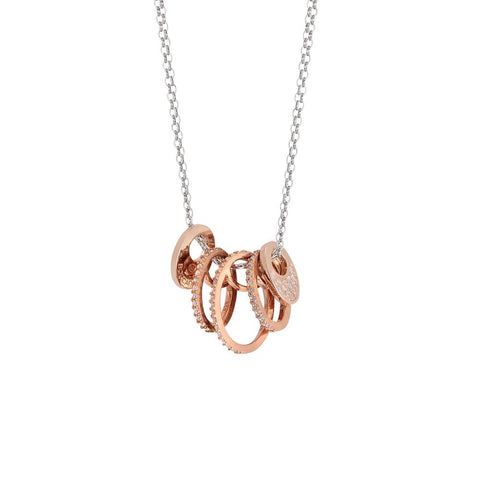 Necklace double wire with elemnti plated circular pink gold and zircons