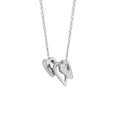 Necklace double wire with elements to heart and zircons