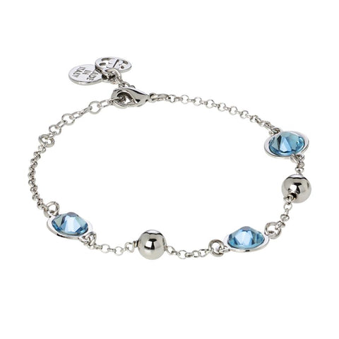 Bracelet with Swarovski crystals aquamarine