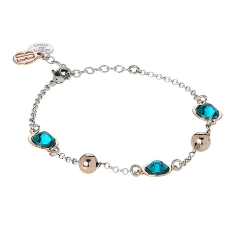 Bracelet bicolor with Swarovski crystals blue zircon