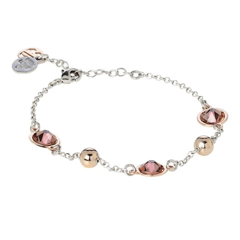 Bracelet bicolor with Swarovski crystals blush roses