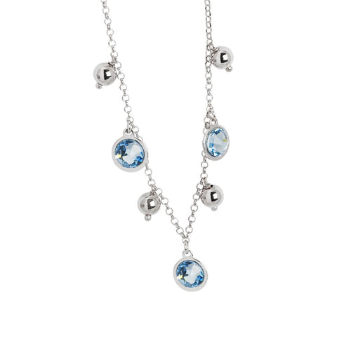 Necklace with Swarovski crystals aquamarine