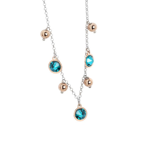 Necklace bicolor with Swarovski crystals blue zircon