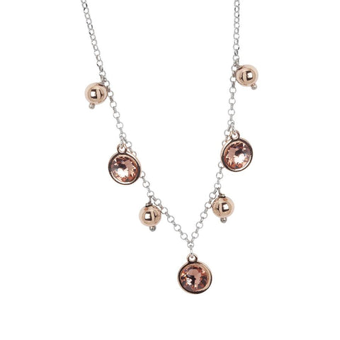 Necklace bicolor with Swarovski crystals blush roses