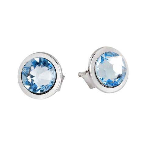 Earrings in the lobe with Swarovski crystal aquamarine
