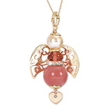 Necklace with angel in pink quartz strawberry