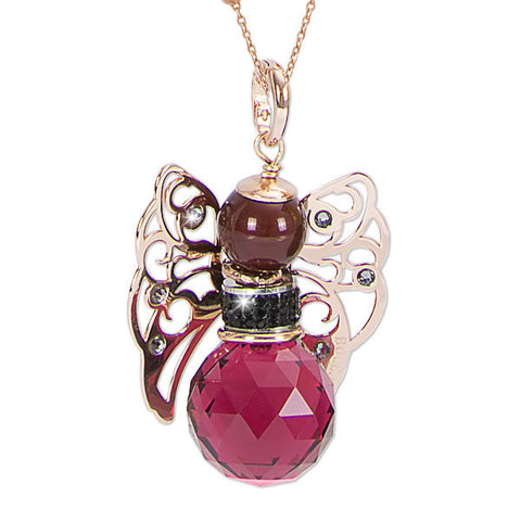Necklace with Angelo in Swarovski bordeaux