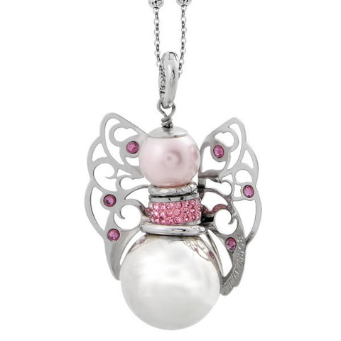 Necklace with sound cherub and Swarovski rose