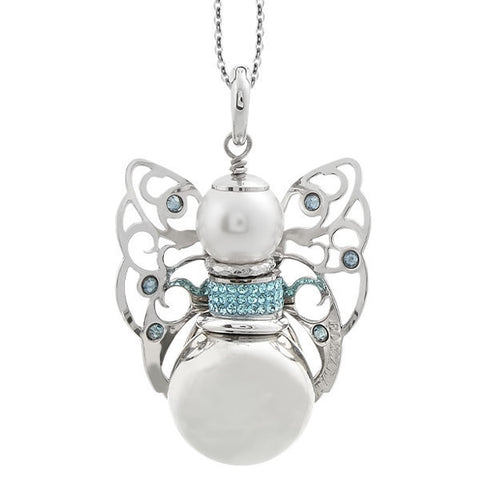 Necklace with sound cherub and Swarovski blue shade
