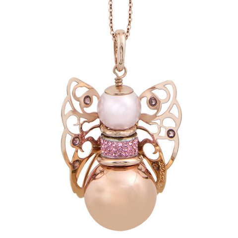 Necklace with sound cherub and Swarovski antique pink