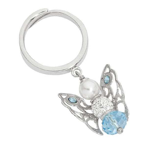 Ring with Angelo mini pendant in Swarovski Aquamarine