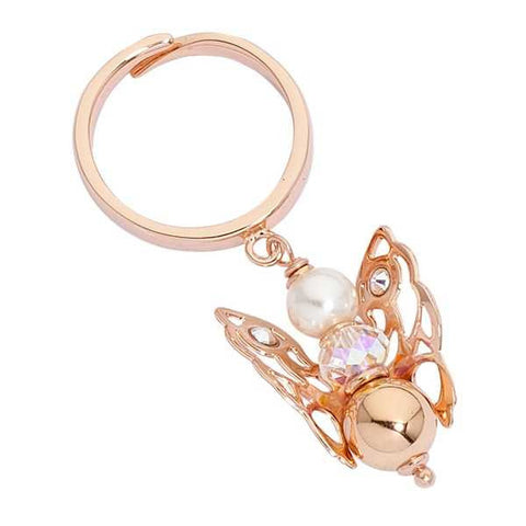 Ring light pink with Angelo mini, Pearl Swarovski and boule final pink