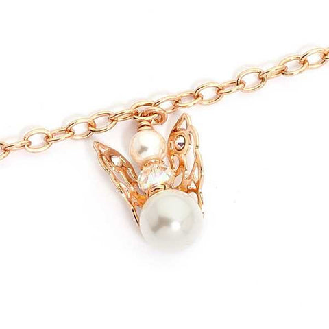 Bracelet rosato with Angelo mini pendant and final pearl