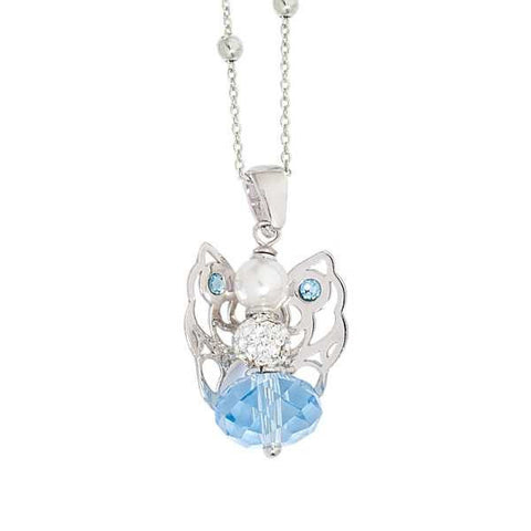 Necklace with Angelo mini in Swarovski Aquamarine