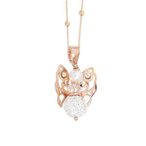 Pink necklace with Angelo mini and boule of final strass